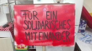 Plakat: Für ein solidarisches Miteinander